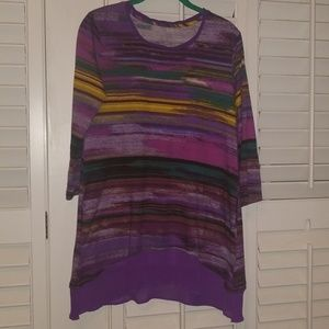 EUC LOGO Lori Goldstein Multi Watercolor Tunic